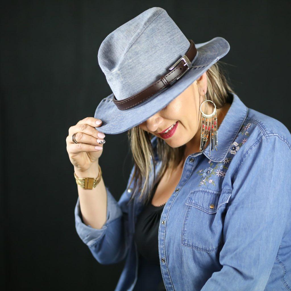 chapeau Cow boy bleu jean