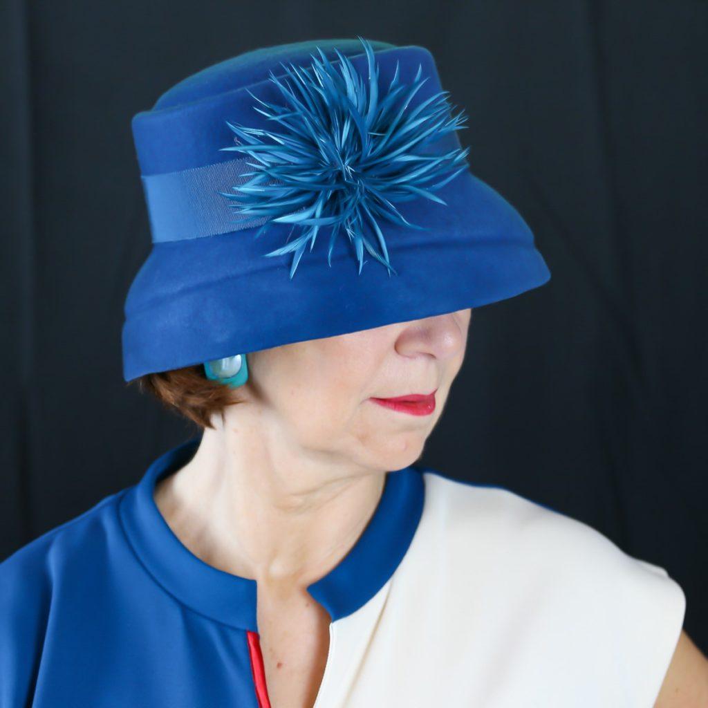 Chapeau feutre Bleu électrique