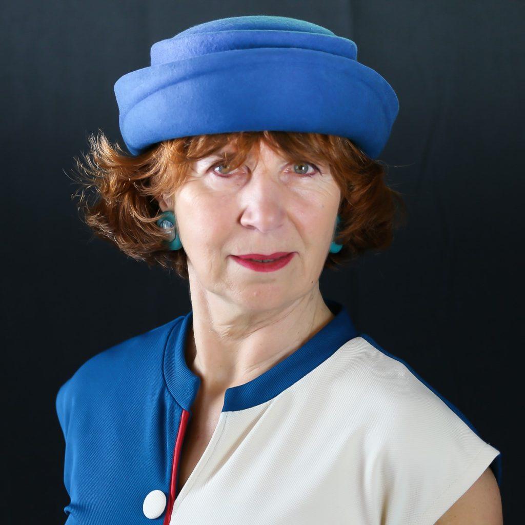 Chapeau feutre Hotesse Bleu électrique